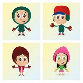 a set of colored winter clothes on a white background