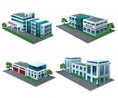 Set of perspective community buildings: hospital, fire station, police and office building.