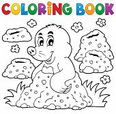 Coloring book with happy mole theme 1 - eps10 vector illustration.