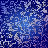 Floral seamless background in blue color with luxury flowers