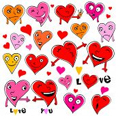 Emotional cartoon hearts illustration isolated on white, expressing different emotions.