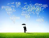Businessman Frustration Protection Global Business Support Concept