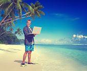 Businessman Working Beach Summer Vacation Travel Concept