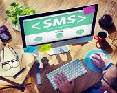 stock photo of sms  - SMS Messaging Text Internet Communication Networking Concept - JPG