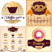 Set of 4 bakery backgrounds