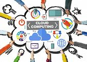 Hand Connection Global Communications Cloud Computing Concept