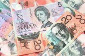 stock photo of twenty dollar bill  - Closeup image of colorful Australian dollar bills - JPG
