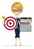 Successful business woman- teacher showing a calculator and Target with an Arrow