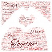 Concept or conceptual red love or Valentine wordcloud or text in shape of hand heart isolated on white background