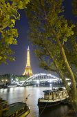 Eiffel Tower seen from Seine river in Paris France