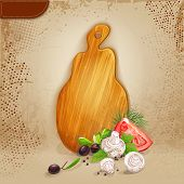 Background for your text with a wooden board and fresh vegetables.