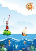 Children's illustration of sea with lighthouse sailing and fun fish.