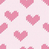 Knitting hearts simple seamless vector print