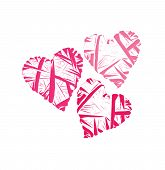 Contour wicker hearts vector design elements