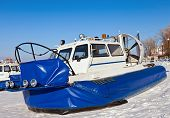 Hovercraft On The Ice Of The Frozen Volga River In Samara