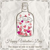 Valentine Card With Jar Filled With Hearts And Wishes Text