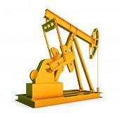 Gold oil rig on isolated white background