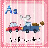 Illustration of a letter A is for accident