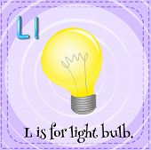 Illustration of a letter l is for light bulb