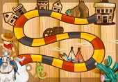 Illustration of a boardgame with western background