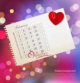vector background for Valentine's day, with the calendar sheet and attached heart