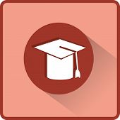 Mortarboard or Graduation Cap. Flat vector illustration