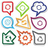 Recycle symbols set. Paper stickers. Vector illustration.
