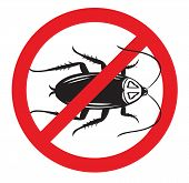 stock photo of cockroach  - A No Cockroach sign on isolated white vector and  jpg for pest control and other uses - JPG