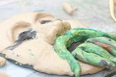 Plasticine Face Sculpture