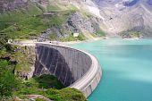 Concrete Dam Wall Of Kaprun Power Plant (no People), Salzburg Alps, Austria