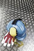 hard-hat, helmet, gloves, protective industrial clothing