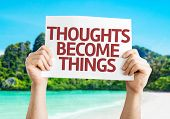Thoughts Become Things card with beach background