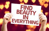 Find Beauty in Everything card with heart bokeh background