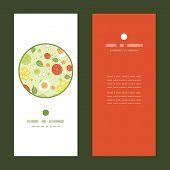 Vector fresh salad vertical round frame pattern invitation greeting cards set