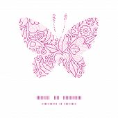 Vector pink flowers lineart butterfly silhouette pattern frame