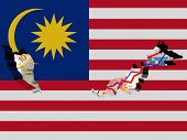 Malaysia map with flag and graphs on Ringgit illustration