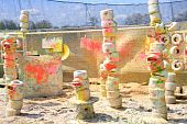 foto of gotcha  - Colorful paintball exercise ground  - JPG