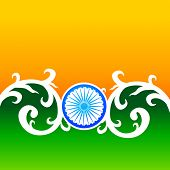 image of indian flag  - creative vector indian flag design with florals and wheel - JPG