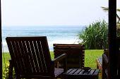 Chair on the veranda overlooking the Indian ocean