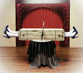Magician sawing a woman with a saw. Photo combination concept