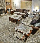 Sitting room filled with money