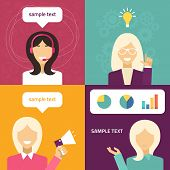 Vector Flat Icon And Illustration Set. Different People Character - Female, Technical Support, Creat