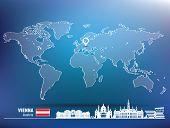 Map pin with Vienna skyline - vector illustration