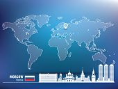 Map pin with Moscow skyline - vector illustration