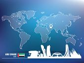 Map pin with Abu Dhabi skyline - vector illustration