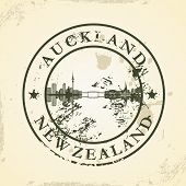 Grunge rubber stamp with Auckland, New Zealand - vector illustration