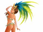 stock photo of pageant  - A beautiful carnival girl wearing a festival costume is dancing - JPG