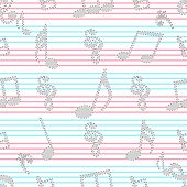 Musical notes with seamless pattern.