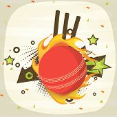 Red cricket ball in fire with wicket stumps on stylish background.