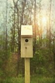 pic of nesting box  - New nesting box set out for Springtime - JPG